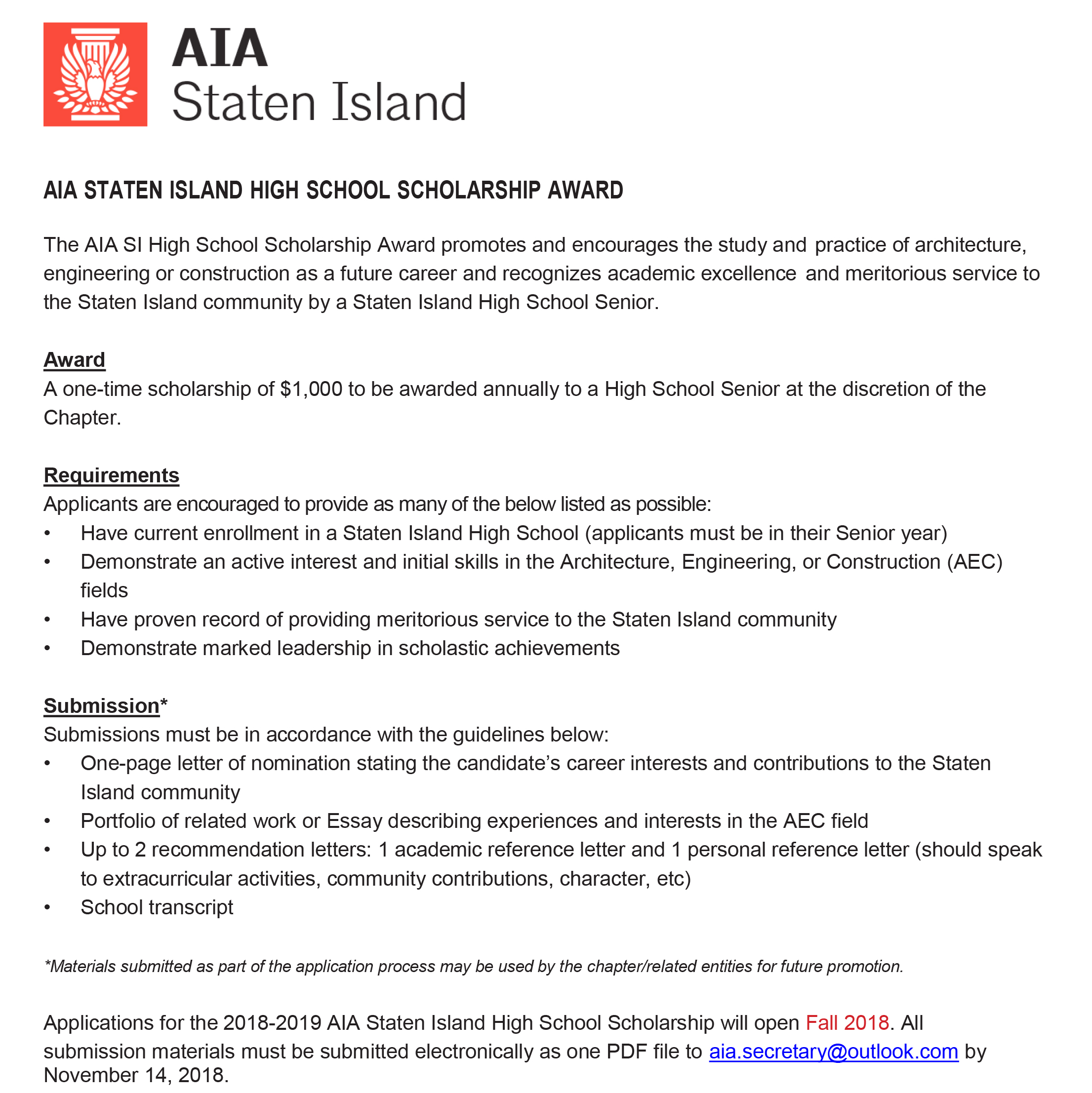 Scholarship - The American Institute of Architects - Staten